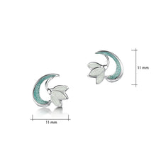Load image into Gallery viewer, Snowdrop Sterling Silver Stud Earrings in Leaf Enamel