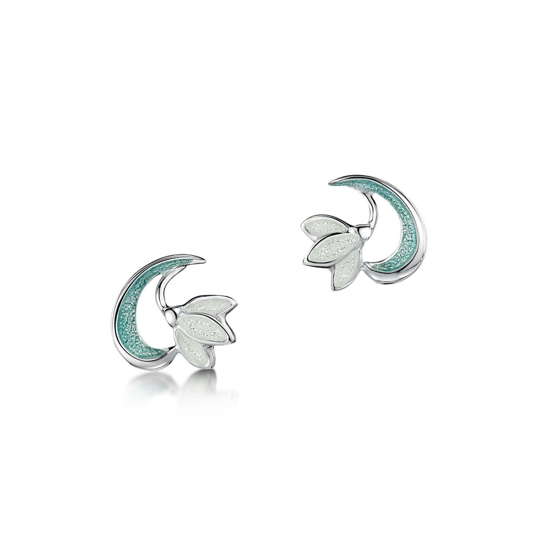 Snowdrop Sterling Silver Stud Earrings in Leaf Enamel