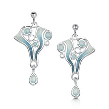 Load image into Gallery viewer, Arctic Stream Drop Earrings in Arctic Blue Enamel