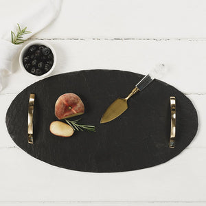 Oval Slate Tray with Gold Coloured Handles