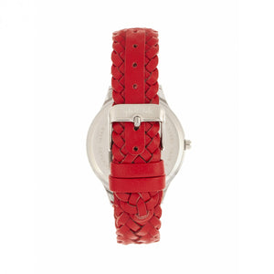 Sophie & Freda Tucson Leather-Band Watch w/Swarovski Crystals - Silver/Red - SAFSF4501