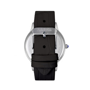 Sophie & Freda Sonoma Leather-Band Watch w/Swarovski Crystals - Silver/Black - SAFSF4402