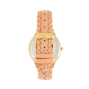 Sophie & Freda Tucson Leather-Band Watch w/Swarovski Crystals - Gold/Coral - SAFSF4503