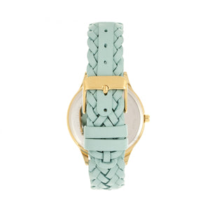 Sophie & Freda Tucson Leather-Band Watch w/Swarovski Crystals - Gold/Light Blue - SAFSF4504