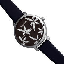 Load image into Gallery viewer, Sophie & Freda Key West Leather-Band Watch w/Swarovski Crystals - Silver/Black - SAFSF4302