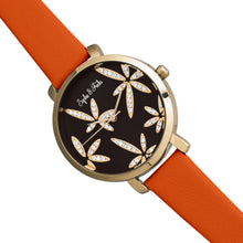 Load image into Gallery viewer, Sophie & Freda Key West Leather-Band Watch w/Swarovski Crystals - Gold/Orange - SAFSF4305