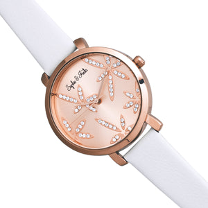 Sophie & Freda Key West Leather-Band Watch w/Swarovski Crystals - Rose Gold/White - SAFSF4307