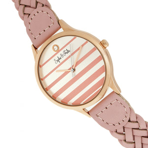 Sophie & Freda Tucson Leather-Band Watch w/Swarovski Crystals - Rose Gold/Pink - SAFSF4506