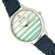 Load image into Gallery viewer, Sophie & Freda Tucson Leather-Band Watch w/Swarovski Crystals - Silver/Teal - SAFSF4502