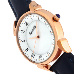 Sophie and Freda Mykonos Mother-Of-Pearl Leather-Band Watch - Navy - SAFSF5504