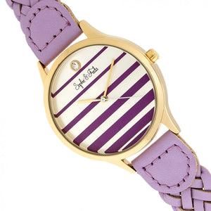 Sophie & Freda Tucson Leather-Band Watch w/Swarovski Crystals - Gold/Lavender - SAFSF4505