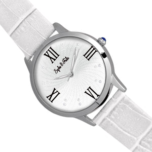 Sophie & Freda Sonoma Leather-Band Watch w/Swarovski Crystals - Silver/White - SAFSF4401