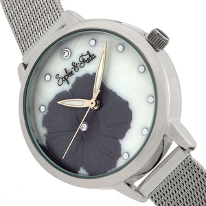 Sophie and Freda Raleigh Mother-Of-Pearl Bracelet Watch w/Swarovski Crystals - Grey - SAFSF5701