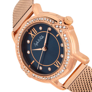 Sophie and Freda Reno Bracelet Watch w/Swarovski Crystals - Rose Gold/Navy - SAFSF5405