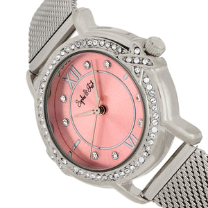 Sophie and Freda Reno Bracelet Watch w/Swarovski Crystals - Silver/Light Pink - SAFSF5402