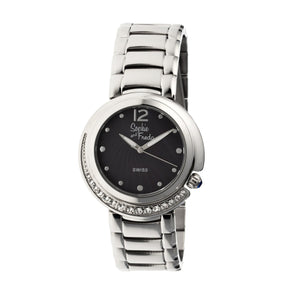 Sophie & Freda Lisbon Ladies Swiss Bracelet Watch - Silver/Black - SAFSF1302