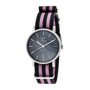 Sophie & Freda Nantucket Nylon-Band Ladies Watch - Silver/Pink - SAFSF3302