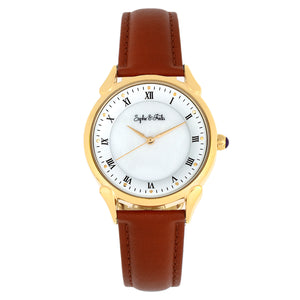 Sophie and Freda Mykonos Mother-Of-Pearl Leather-Band Watch - Brown - SAFSF5503
