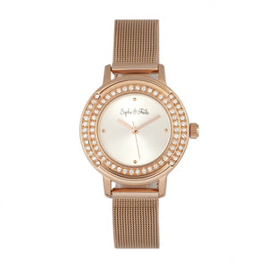 Sophie & Freda Cambridge Bracelet Watch w/Swarovski Crystals - Rose Gold - SAFSF4102