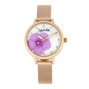 Sophie and Freda Raleigh Mother-Of-Pearl Bracelet Watch w/Swarovski Crystals - Pink - SAFSF5705
