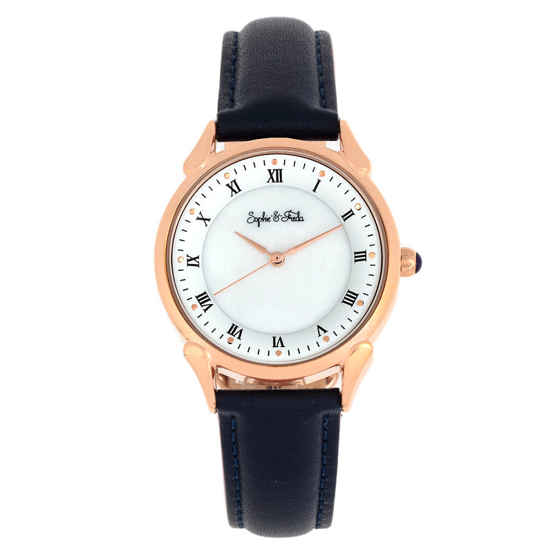 Sophie and Freda Mykonos Mother-Of-Pearl Leather-Band Watch