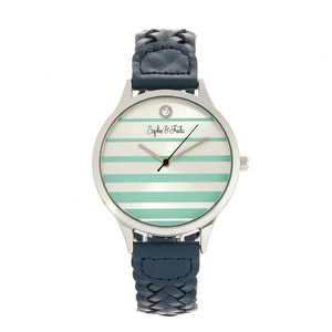 Sophie & Freda Tucson Leather-Band Watch w/Swarovski Crystals - Silver/Teal - SAFSF4502