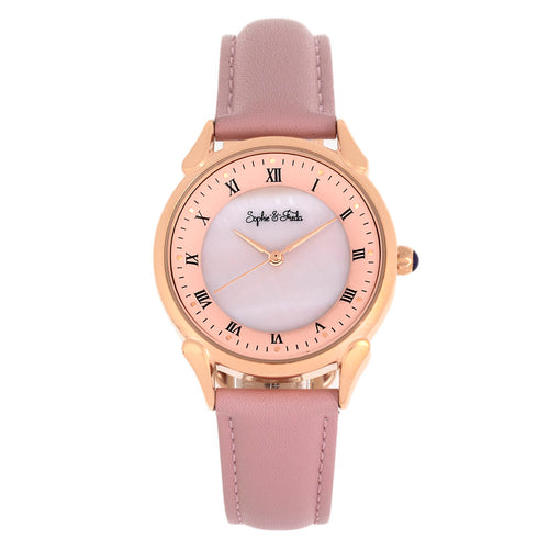 Sophie and Freda Mykonos Mother-Of-Pearl Leather-Band Watch - SAFSF5505