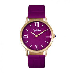 Sophie & Freda Sonoma Leather-Band Watch w/Swarovski Crystals - Gold/Fuchsia - SAFSF4404