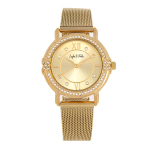 Sophie and Freda Reno Bracelet Watch w/Swarovski Crystals - Gold - SAFSF5403