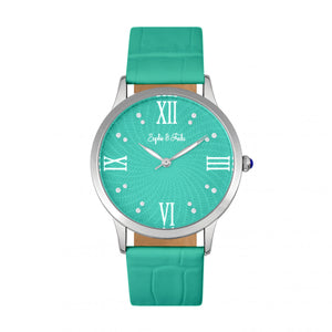 Sophie & Freda Sonoma Leather-Band Watch w/Swarovski Crystals - Silver/Teal - SAFSF4403
