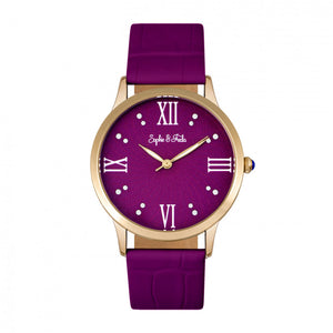 Sophie & Freda Sonoma Leather-Band Watch w/Swarovski Crystals