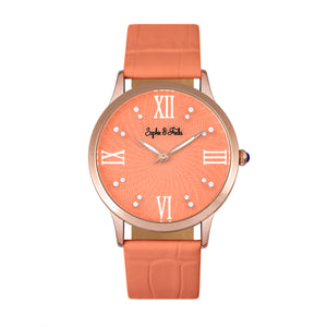 Sophie & Freda Sonoma Leather-Band Watch w/Swarovski Crystals - Rose Gold/Coral - SAFSF4405