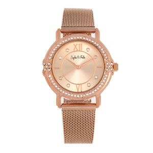 Sophie and Freda Reno Bracelet Watch w/Swarovski Crystals - Rose Gold - SAFSF5404