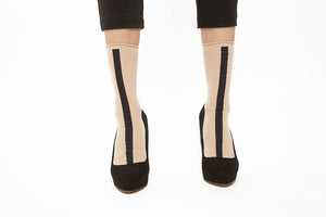 Lined Socks - Beige x Black