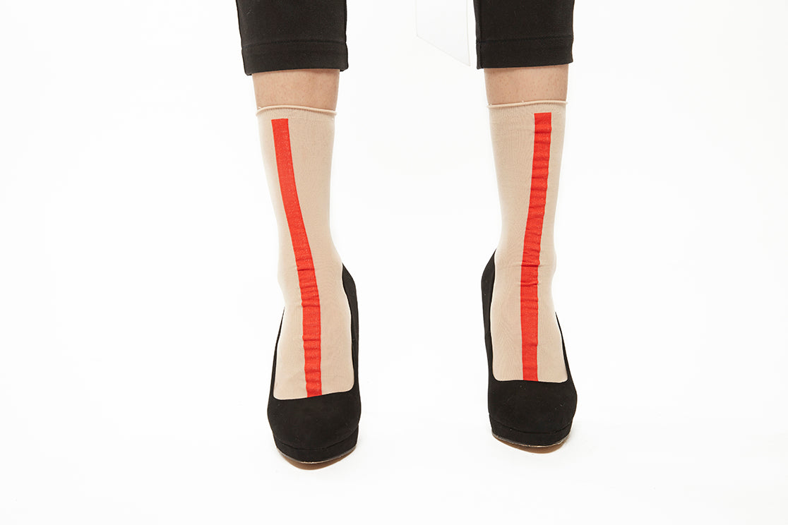 Lined Socks - Beige x Red