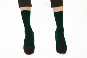 Lined Socks - Dark Green x Black