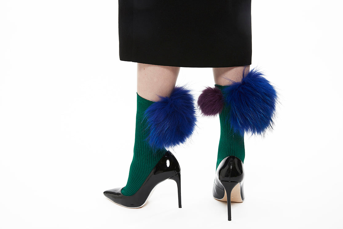 Mixed Fur Socks - Green x Purple x Blue