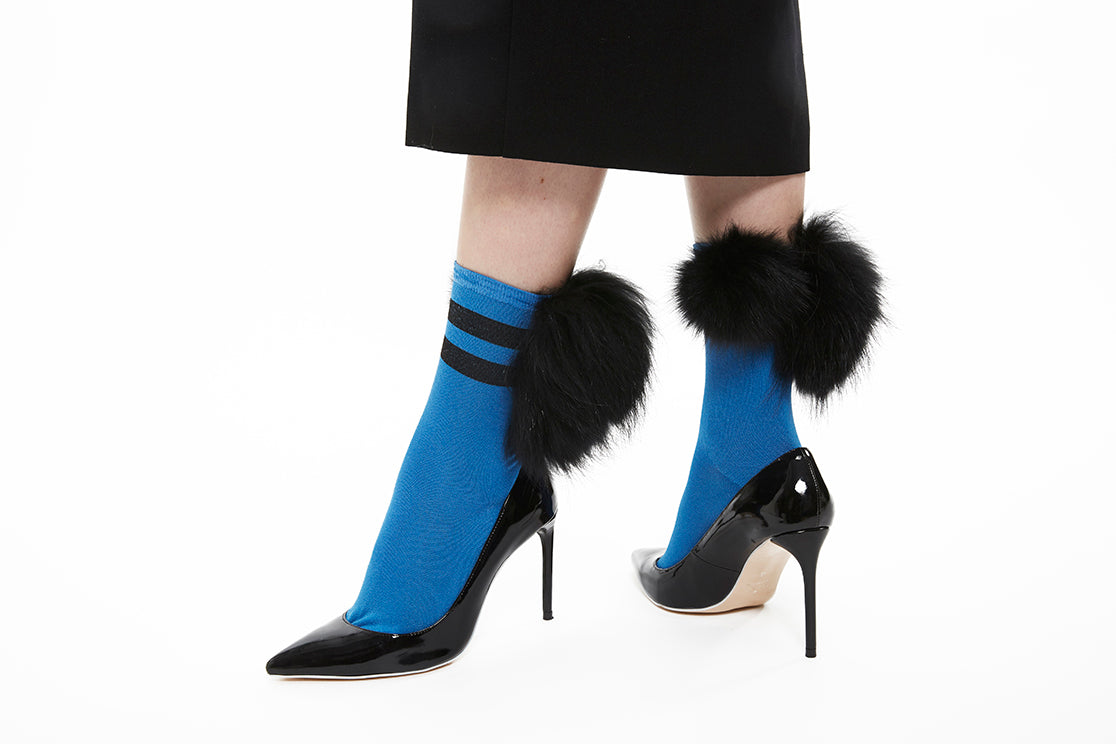 Stripe Mixed Fur Socks - Blue x Black