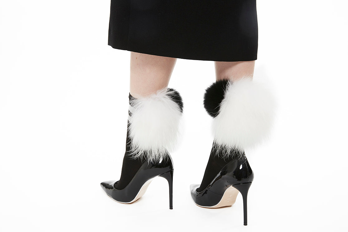 Stripe Mixed Fur Socks - Black x White