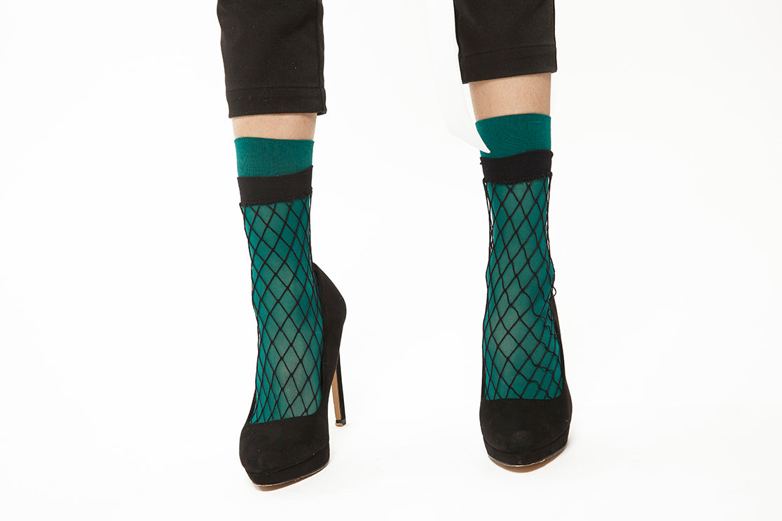 Layered Fishnet Socks - Green
