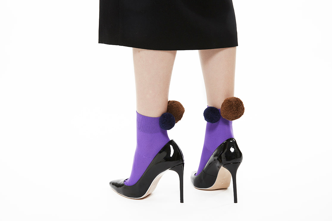 Pom Pom Sock - Purple x Brown x Navy