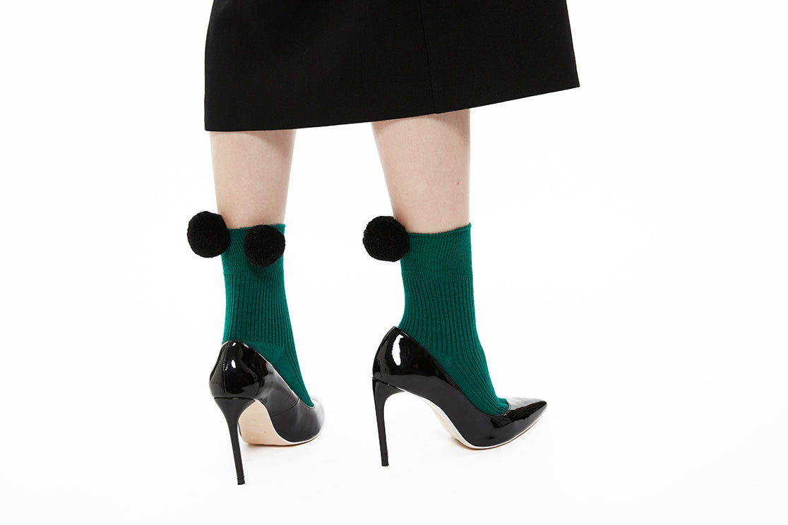 Pom Pom Sock - Green x Black