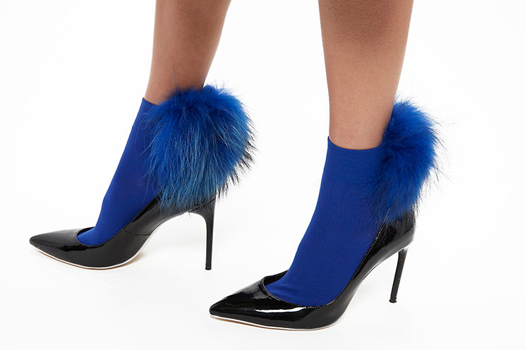 Raccoon Fur Socks - Blue