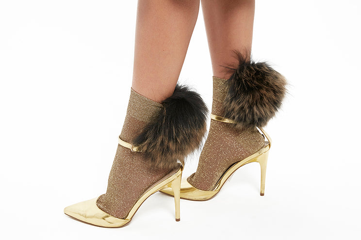 Raccoon Fur Socks - Glitter Gold