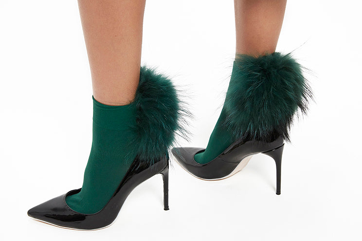 Raccoon Fur Socks - Green
