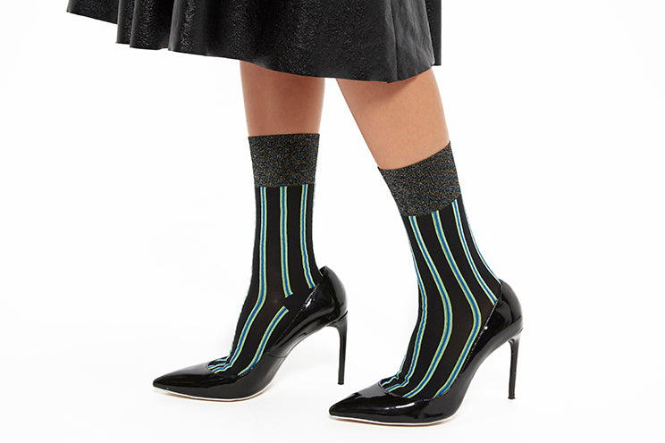 Lolli Stripe Sock with Glitter - Black