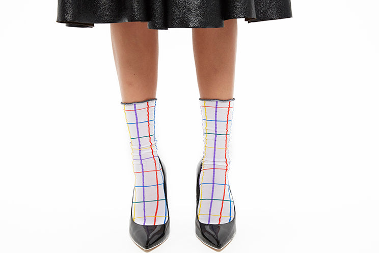 Windowpane Check Sock - White