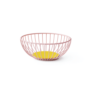Small Pink & Yellow Iris Wire Basket