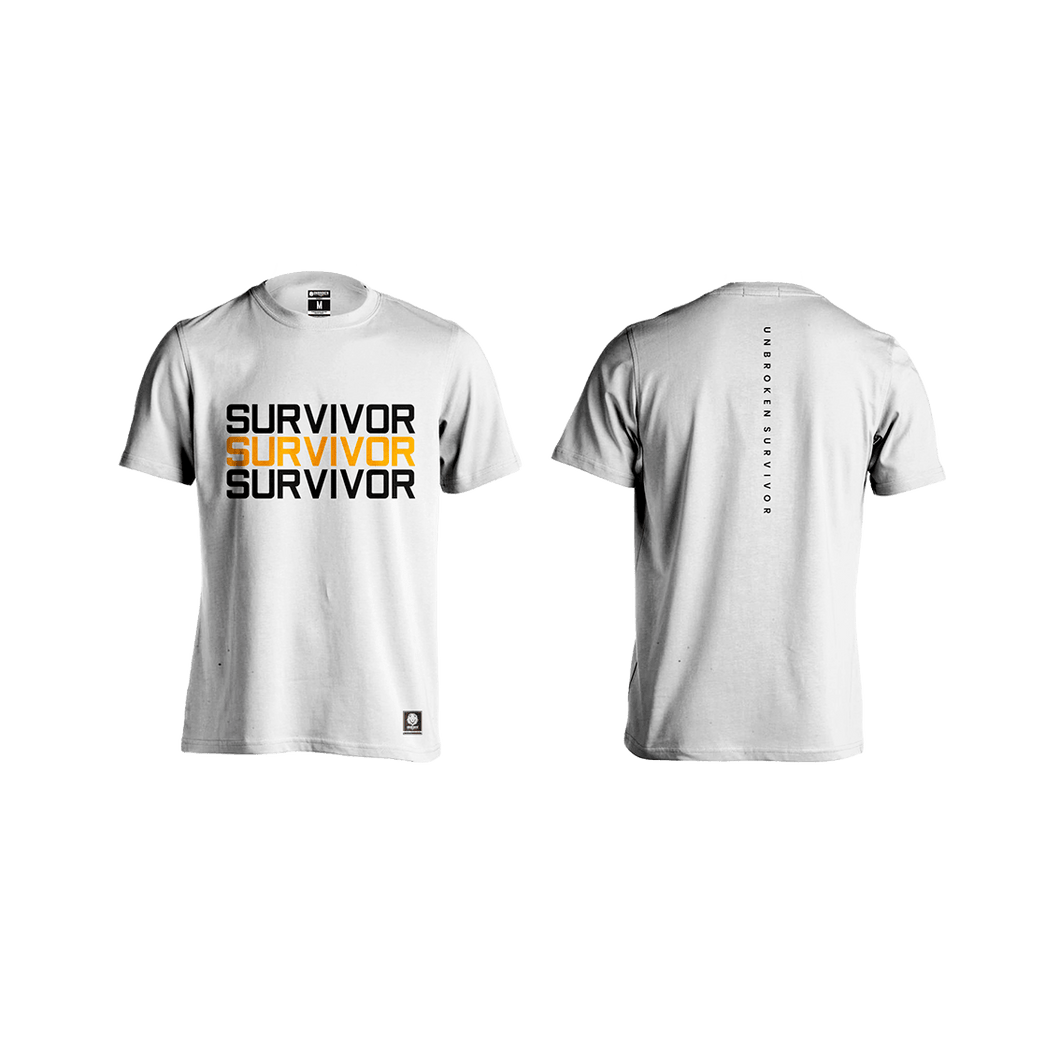 Camiseta Survivor Hombre white - Unbroken Sports Wear