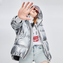 Load image into Gallery viewer, Women's Mid-Length Loose and Thick Down Jacket Silver